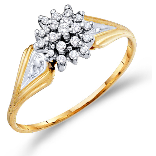Diamond Cluster Ring Round Shaped Fashion Band 10k Yellow Gold (0.10 ct.tw)