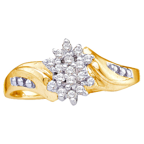 Diamond Cluster Fashion Ring Curved Anniversary Band 10k Yellow Gold (0.12 ct.tw)
