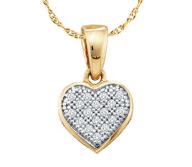 Diamond Heart Pendant 10k Yellow Gold Love (0.05 Carat)
