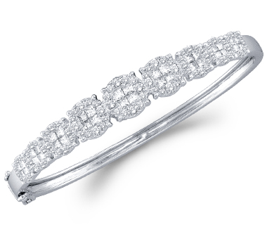 Womens Princess Diamond Bangle Bracelet 14k White Gold (3.00 Carat)