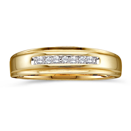 Men's Diamond Ring Engagement Elegant Wedding Band Fashion 10k Yellow Gold (0.08 ct.tw)