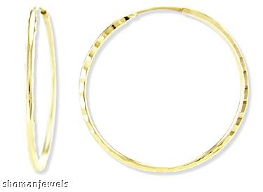 Classic Hoop Earrings Solid 14k Yellow Gold Thin 2/3 inch