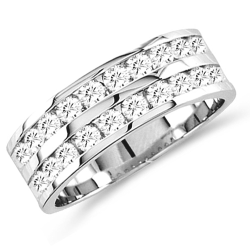 Diamond Wedding Ring Bridal Anniversary Band 14k White Gold (0.78 ct.tw)