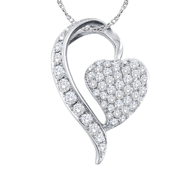 Heart Diamond Pendant 14k White Gold Charm Womens (0.75 Carat)