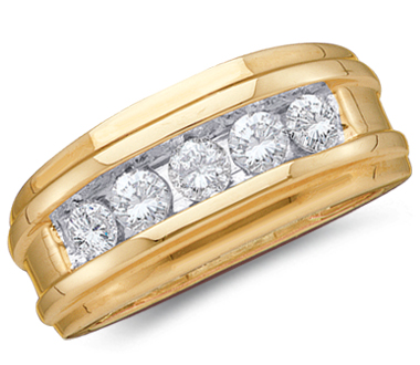 Mens Diamond Wedding Ring Engagement Band 14k Yellow Gold (1.00ct)