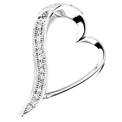 Diamond Heart Pendant Love Micro Pave Fashion 10k White Gold (0.05 ct.tw)