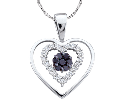 Black & White Diamond Heart Pendant 10k White Gold Charm (0.25 Carat)