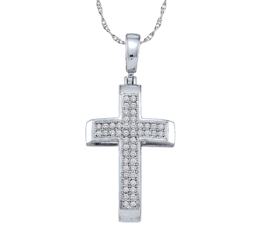 Diamond Cross Pendant Religious Charm 10k White Gold (0.15 Carat)