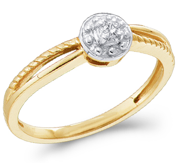 Solitaire Diamond Ring Engagement 10k Yellow Gold (0.05 Carat)