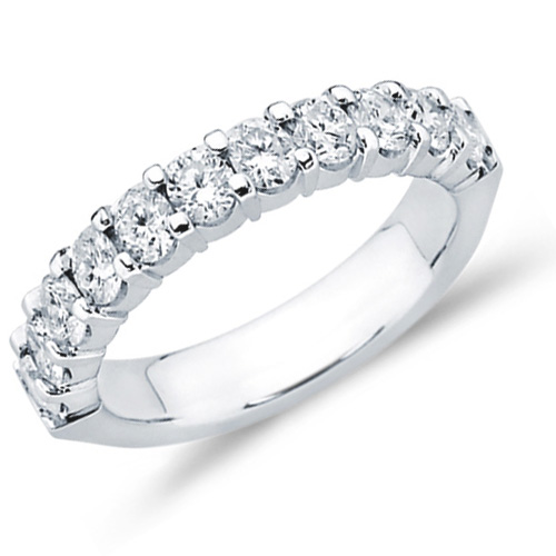 Diamond Wedding Band Anniversary Ring Bridal 14k White Gold (1.02 ct.tw)