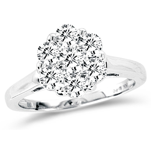 Diamond Engagement Ring Cluster Solitaire Anniversary Band 14k White Gold (0.27 ct.tw)