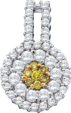 Yellow Diamond Pendant Cluster 14k White Gold Fashion Charm (1.00 CTW)