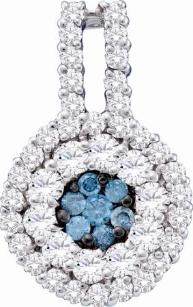 Blue Diamond Pendant Cluster 14k White Gold Fashion Charm (1.00 CTW)