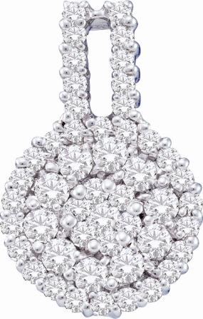 Cluster Diamond Pendant 14k White Gold Solitaire Set Charm (1.00 CTW)