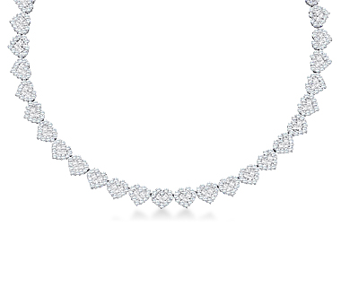 Diamond Hearts Necklace 14k White Gold Womens (6.50 Carat)