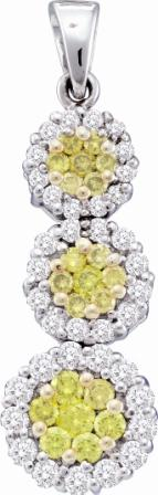 Yellow Diamond Pendant Three Stone Setting 14k White Gold (1.00 Carat)