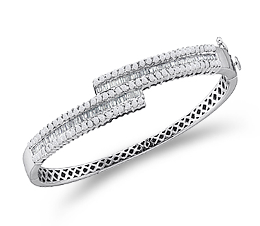 Diamond Bangle Bracelet 14k White Gold Womens Fashion (1.50 Carat)