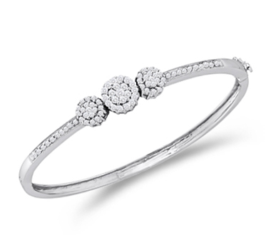 Diamond Bangle Bracelet 14k White Gold Three Stone Cluster (1.05 CTW)