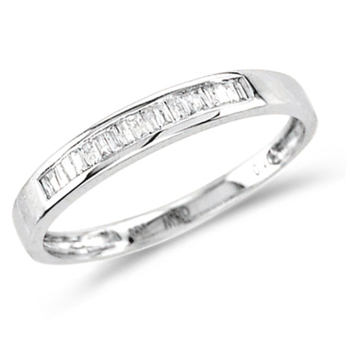 Diamond Wedding Band Baguette Anniversary Ring Sterling Silver (0.10 ct.tw)
