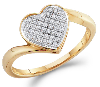 Heart Diamond Ring Anniversary Gift 10k Yellow Gold (0.05 Carat)