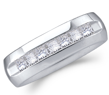 Men Princess Diamond Wedding Ring Engagement Band 14k White Gold 1.50c