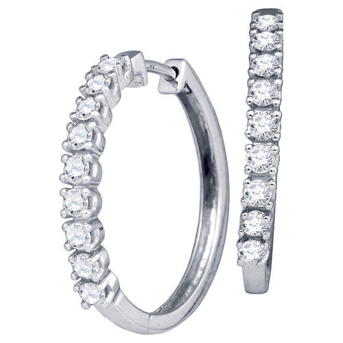 Diamond Fashion Hoop Earrings 10K White Gold (0.55 ct.tw.)
