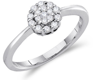 Diamond Engagement Cluster Ring 14k White Gold Bridal (1/4 Carat)