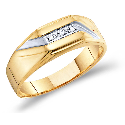 Mens Diamond Engagement Ring Wedding Anniversary Band 10k Yellow Gold (0.03 ct.tw)