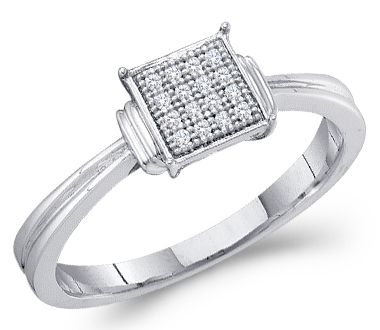 Diamond Ring Anniversary 10k White Gold Micro Pave (0.05 Carat)