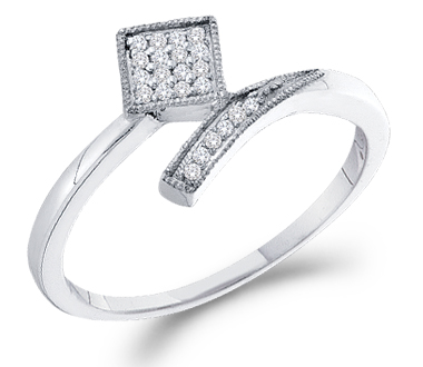Diamond Ring Fashion Band 10k White Gold (0.07 Carat)