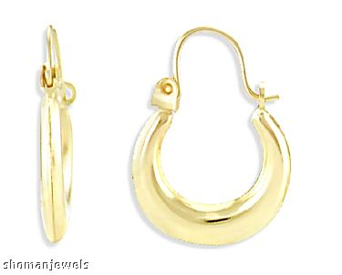 14k Yellow Gold Hoop Earrings Polished Classic Puffed