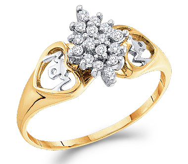 Cluster Diamond Ring Anniversary Womens 10k Yellow Gold (0.15 Carat)