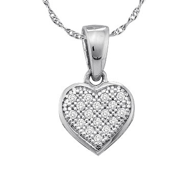 Diamond Heart Pendant 10k White Gold Love (0.05 Carat)