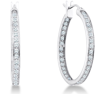 Diamond Classic Hoop Earrings 14k White Gold Round (1/4 Carat)