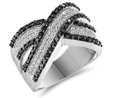 Black Diamond Fashion Ring 14k White Gold Womens Band (1.25 Carat)