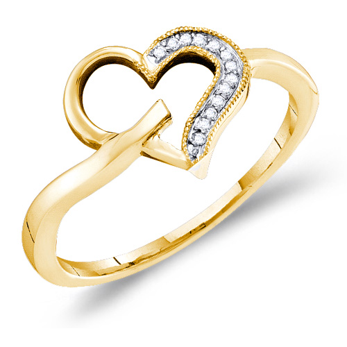 Diamond Heart Ring Love Fashion Band 10k Yellow Gold (0.04 ct.tw)