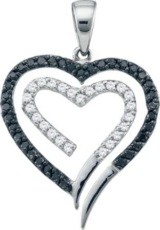 White & Black Diamond Hearts Pendant 14k White Gold Charm (1/3 Carat)