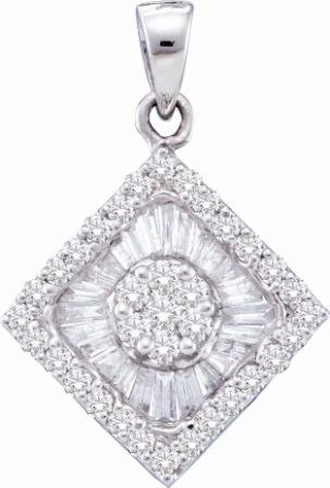 Diamond Pendant Solitaire Set Cluster 14k White Gold Charm (0.97 CTW)