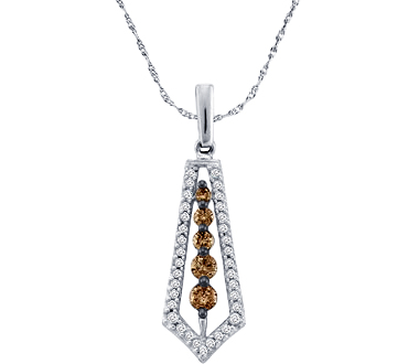Journey Chocolate Diamond Pendant 14k White Gold (0.50 Carat)