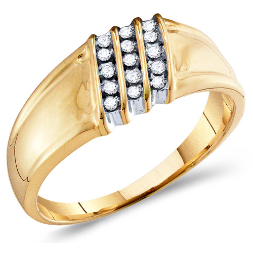Mens Diamond Engagement Ring Wedding Band Anniversary 10k Yellow Gold (0.15 ct.tw)