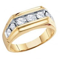Men Diamond Wedding Ring 10k Yellow Gold Anniversary Band (1.00 Carat)
