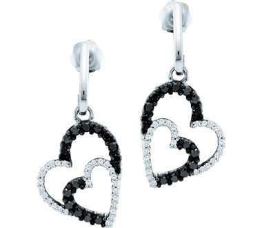 Black Diamond Heart Dangle Earrings 10k White Gold Drop (1/2 Carat)
