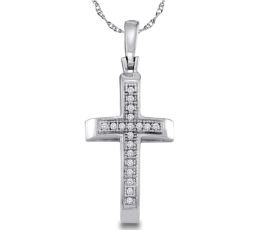 Diamond Cross Pendant Sterling Silver Charm (.05 Carat)