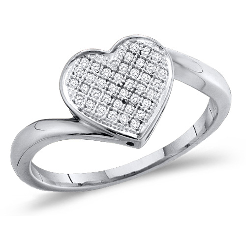 Diamond Heart Ring Micro Pave Love Fashion Band Sterling Silver (0.10 ct.tw)