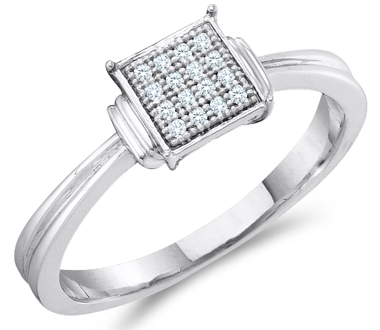 Diamond Engagement Ring Sterling Silver Anniversary Bridal (.05 Carat)
