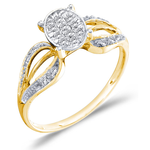 Diamond Round Ring Solitaire Setting Fashion Band 10k Yellow Gold (0.10 ct.tw)