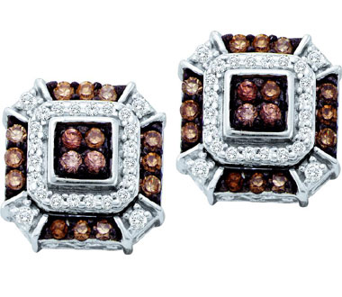 Brown Champagne Diamond Earring Studs 10k White Gold (1/2 Carat)