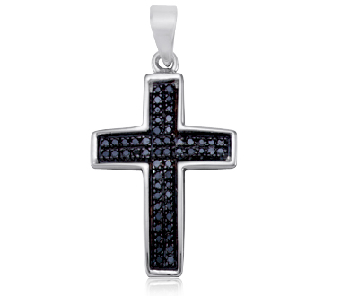 Black Diamond Cross Pendant Religious Charm Sterling Silver (0.15ct)