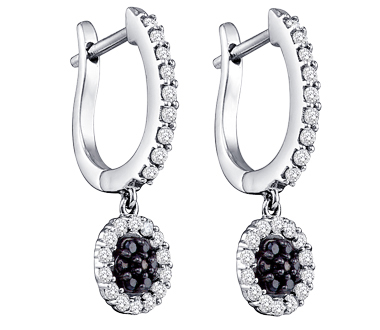 Hoop Black Diamond Earrings Dangle 10k White Gold (1/2 Carat)
