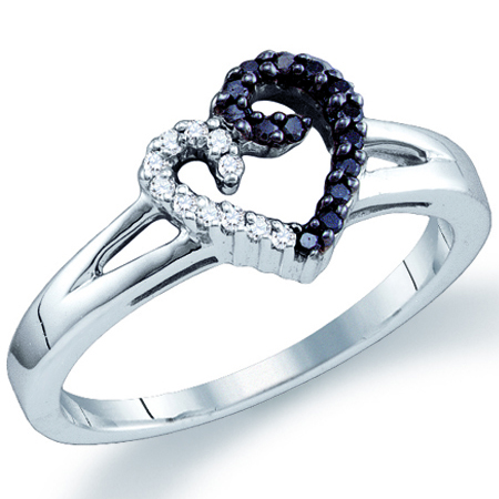 Black & White Diamond Heart Ring Fashion Band Sterling Silver (0.17ct)
